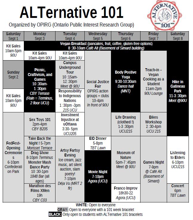 SCHEDULE FOR ALTERNATIVE 101 WEEK!